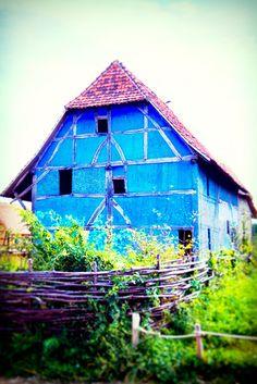 beautiful bright blue barn.