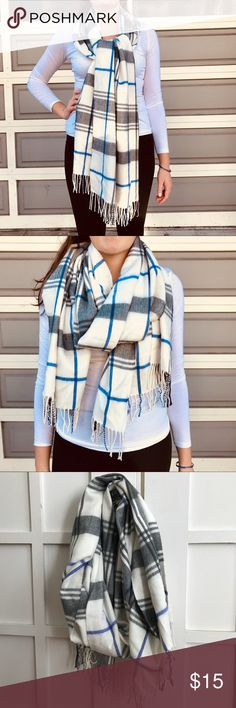 Blue and white blanket scarf Blue and white blanket scarf. Lightly worn, in great shape. GAP Accessories Scarves & Wraps