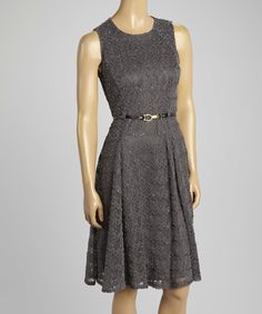 Look at this Sharagano Dark Gray Texture Belted Sleeveless Dress on #zulily today!