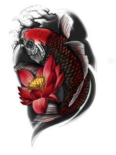 Image result for tatuajes pez koi negro