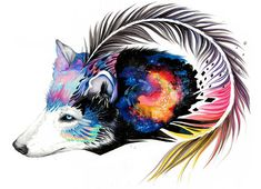Galaxy wolf signed Art Print by #PixieColdArt on Etsy♥•♥•♥