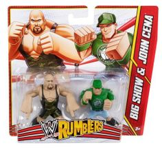 WWE Rumblers Big Show and John Cena Figure, 2-Pack by Mattel. $5.90. Collect the entire Rumblers world to build your own battle. Includes 2 mini figures grouped together to re-create key match-ups and rivalries. Bring home the officially licensed WWE action. Features Superstar styling, 4 points of articulation and a mighty grip to hold accessories. The mightiest WWE Superstars have gone mini. From the Manufacturer                World Wrestling Entertainment Rumblers Fig...