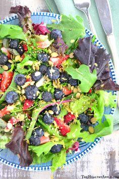 Blueberry Salad with Coconut Cilantro Dressing #glutenfree
