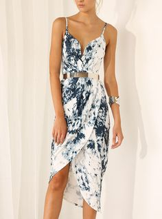 This website is a Narnian Wardobe. White Spaghetti Strap Ink Print Dress 21.99 #elegant