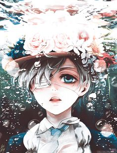 Black Butler Ciel Phantomhive under water with bubbles and a hat with flowers…this was from the school episode which i don't remember the name....the derek(?) one