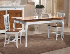 Tavolo allungabile in legno da cucina shabby chic con sedie