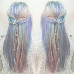 The perfect opal mermaid hair colorful hair holographic hair pastel hair Cabello Opal, Galaxy Hair, Dye My Hair, Mermaid Hair, Mermaid Makeup, Grunge Hair, Crazy Hair, Gorgeous Hair, Pretty Hairstyles