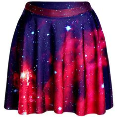 Watermelon Red Womens Slimming Galaxy Printed Pleated Skirt ($11) ❤ liked on Polyvore featuring skirts, bottoms, saias, blue skirt, slim skirt, red skirt, pleated skirt and red knee length skirt