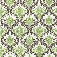 Sage Damask Fabric by the Yard | Carousel Designs  Where was this material a year and a half ago when I was looking for brown and green demask???