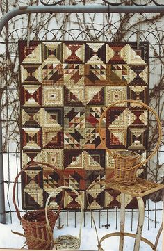 Primitive Folk Art Wall Quilt Pattern:  SMALL THINGS. $7.75, via Etsy.