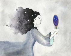 Watercolor print archival print girl with stars by ClarySageMoon