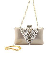 Ladies Elegant Beaded Rhinestone Evening Handbag Wedding Party Bag Purse Clutch
