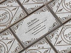 Del Pedro Letterpressed on Cranes Lettra Ecru White, business card