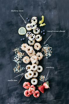 Mini Baked Donuts: blueberry lemon, toasted coconut almond, strawberry and vanilla bean Donut Flavors, Donut Recipes, Mini Donuts, Baked Doughnuts, Homade Donuts, Powdered Donuts, Healthy Donuts, Healthy Food, National Donut Day
