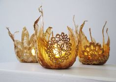 Tea lights - stitched tea bags and up cycled doily scraps by Wilma Simmons www.empresswu.blogspot.com #tea bag art