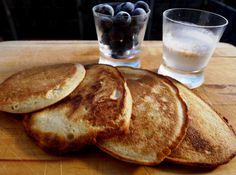 Coconut flour pancakes. Used bananas instead of sugar :-)