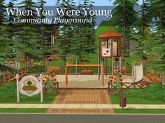 Haven't posted anything in a while, so here's a small park I made for my legacy neighbourhood. Play-tested to ensure all equipment is accessible. [Download - When You Were Young]