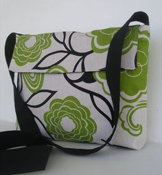 Messenger Bag in Green and Black Modern Floral by jazzygeminis, $30.00