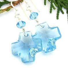 #Swarovski #Cross #Earrings, Sparkling Aquamarine Blue Crystal #Christian #Handmade Dangle Jewelry by @ShadowDog #ShadowDogDesigns #Indiemade - $30.00 - SOLD *