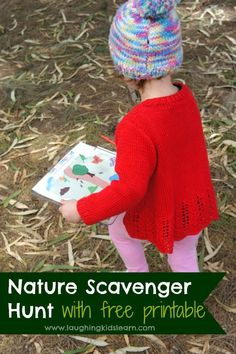 Toddler nature scavenger hunt with a free illustrated printable - Laughing Kids Learn Gross Motor Activities, Nature Activities, Outdoor Activities For Kids, Creative Activities, Infant Activities, Preschool Activities, Creative Play, Outdoor Learning, Language Activities
