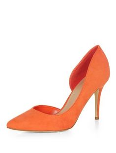 Orange Open Side Pointed Court Shoes | New Look