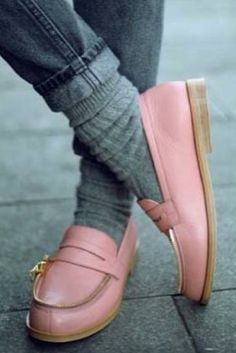 pink loafers with gray ribbed socks