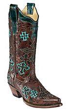 Corral Ladies Whiskey Marble Brown w/ Turquoise Crosses Snip Toe Western Boot