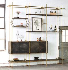 The Collector's Shelving System BY AMUNEAL. Can make a bookcase with copper pipes