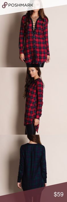 """Lace Up Plaid Tunic Top Lace up plaid tunic top. Available in red, white and green. This listing is for the RED. This is an ACTUAL PIC of the item - all photography done personally by me. Model is 5'9"""", 32""""-24""""-36"""" wearing the size small. NO TRADES DO NOT BOTHER ASKING. PRICE FIRM. Bare Anthology Tops Tunics"""
