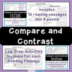 Teach comparing and contrasting in both fiction and nonfiction in a variety of fun ways. This compare and contrast unit combines my Comparing and Contrasting Stories Resource with my Comparing and Contrasting Nonfiction resource (almost 100 pages of comparing and contrasting - a huge bundle of activities). Save over 25% when you buy the two compare and contrast resources together!