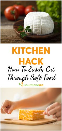 Slice through goat cheese with perfect ease!  #kitchenhack #kitchentrick #kitchentip #cookinghack #cookingtrick #cookingtip #food