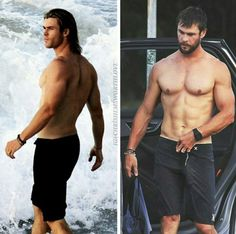 For the love of God,am I the only one seeing this. Chris Hemsworth Thor, Chris Hemsworth Sem Camisa, Pretty Men, Beautiful Men, Liam Hamsworth, Hemsworth Brothers, Raining Men, Shirtless Men, Night Photography