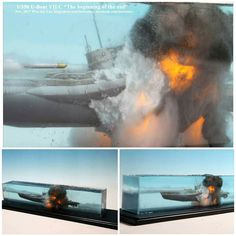 """""""The beginning of the End"""" diorama. Scale Model Ships, Scale Models, Military Diorama, Military Art, Model Warships, Ship In Bottle, Water Effect, Retro Futurism, Model Building"""