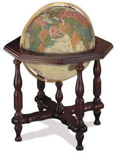 The Statesman 20-inch Antique or Blue Ocean Illuminated Floor Standing World Globe by Replogle stands 37 inches tall and is a unique and beautiful representation of our Earth. Hand cut and hand applied map features make it one of the finest globes available today. #reploglefloorglobes #replogleilluminatedglobes #replogledesktopglobes #replogletabletopglobes