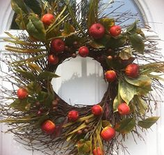 Country Orchard Fall Wreath With Faux Apples Wreaths For Door http://www.amazon.com/dp/B00MBQLN9S/ref=cm_sw_r_pi_dp_xISgub1JZMXE2