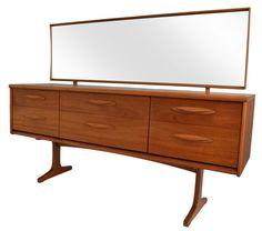 Austinsuite Mid-Century Teak Dresser With Mirror on Chairish.com