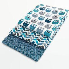 Lot 3 coupons 50x50cm hiboux bleu , scandy bleu , saki asanoha bleu canard