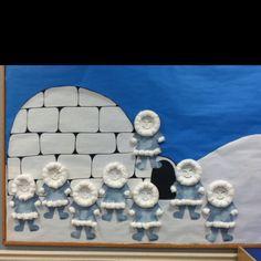 eskimos Birthday Bulletin Boards, Winter Bulletin Boards, Snow Theme, Winter Theme, Arctic Decorations, Polo Norte, Arctic Animals, Christmas Door Decorations, Snowy Day