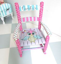 Painted Child Rocking Chair With An Owl Theme, Custom Painted Child Rocker