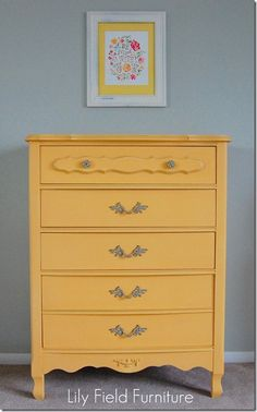 Chest of drawers painted with Chalk Paint® decorative furniture paint by Annie Sloan in Arles, a rich, glowing yellow in the Chalk Paint® palette. Finished Clear Chalk Paint® Wax.