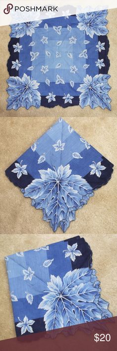 """Small Vintage Blue Leaf Scarf Beautiful! 15 1/2"""" across. In great condition Vintage Accessories Scarves & Wraps"""