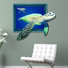 PAG STICKER 3D Wall Decals Sea Turtle Marine turtle Wall Sticker Home Wall Decor Gift