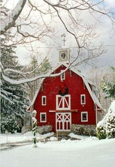 Red Barn with Clock Tower