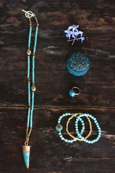 Necklace Tibetan Horn brass inlaid turquoise by MartaDissenys