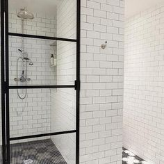 White Subway Shower Tiles with Black Hex Shower Floor Tiles