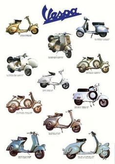 Vespa Scooters - Images of Vintage and Classic Italian Scooters Piaggio Vespa, Lambretta Scooter, Vespa Scooters, Scooter Garage, Scooter Motorcycle, Vespa Images, Vespa Models, Motos Retro, Motos Trial