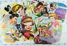 Charming Graphics from Vintage 1960's Children's Book, Happy, A Rand McNally Junior Elf Book, Puppy, Girl, Boy, Ephemera, Scrapbooking by YzTreasures on Etsy