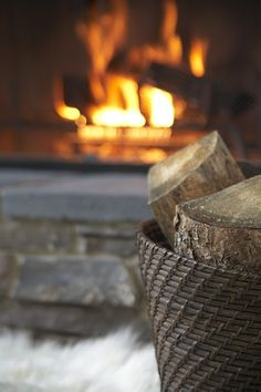 Crackling fire and the smell of woodsmoke.