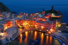 Vernazza, Italy You can see the house we are staying in on the very left hand side. The entire Cinque Terre area looks amazing. Places To Travel, Places To See, Travel Destinations, Night Photography, Amazing Photography, Must See Italy, Cinque Terre, National Geographic Photos, Beautiful Places