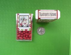 CHRISTMAS RUDOLPH'S NOSES,label,sticker,candy,Tic Tac,favor. $5.00, via Etsy.